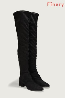 Finery London Black Pulross Black Over The Knee Boot