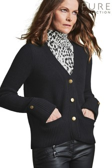 Pure Collection Black Wool Cotton Gold Button Cardigan