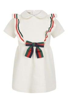 Baby Girls Ivory Cotton Bow Dress