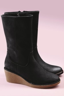 Crepe Wedge Calf Boots
