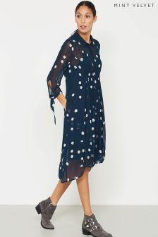 Синее платье-рубашка с рисунком Mint Velvet Brynn
