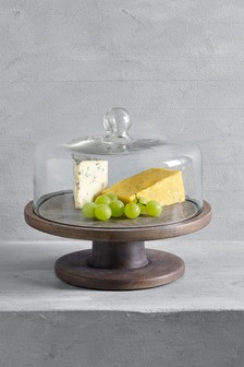 Wooden Cake Stand with Glass Cloche