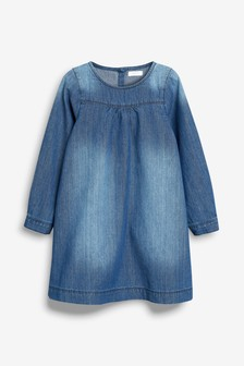 Roll Sleeve Denim Dress (3mths-7yrs)