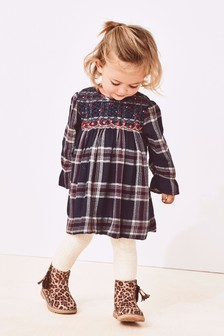 Check Embroidered Smock Dress (3mths-6yrs)