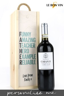 Personalised Best Dad Chianti Wine Gift Box by Le Bon Vin