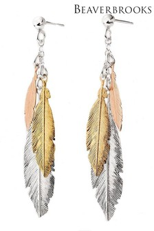 Beaverbrooks Three Colour Feather Drop Earrings