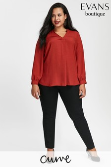 Evans Curve Black Flat Front Jeggings