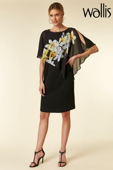 Wallis Black Orchid Overlayer Dress