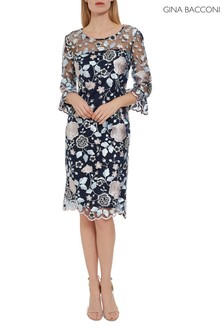 Gina Bacconi Blue Piper Embroidery Dress With Cuff Detail
