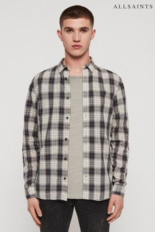 AllSaints Grey Check Riverton Shirt