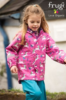 Frugi Pink Recycled Polyester Waterproof Lined Coat