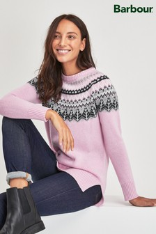 Barbour® Tartan Pink Fairisle Pattern Jumper