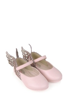Girls Pink Leather & Glitter Shoes