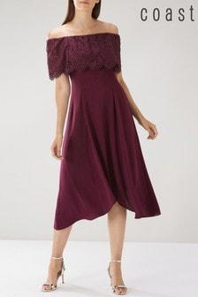 Coast Burgundy Oriel Lace Bardot Dress