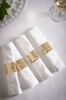 Set of 4 Napkins With Gold Cuff