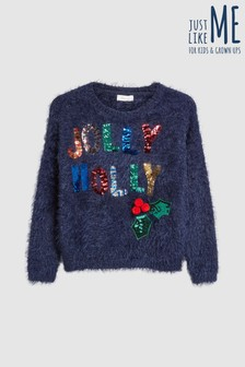 Girls Jolly Holly Christmas Jumper (3-16yrs)