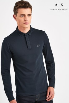 Armani Exchange Navy Long Sleeve Poloshirt