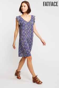 FatFace Blue Tori Tile Patch Geo Dress