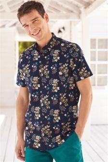 Koszula z krótkim rękawem, w motywy kwiatowe
