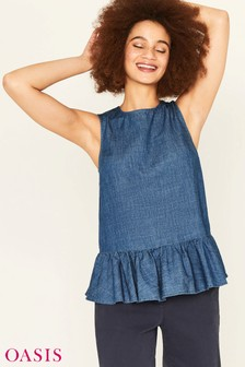 Oasis Blue Textured Peplum Top