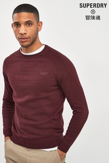 Superdry Burgundy Long Sleeve Crew Jumper
