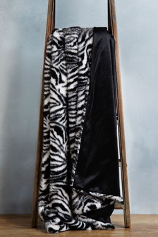 Zebra Faux Fur Throw