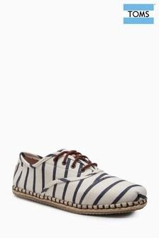 Toms Cordones Navy/White Stripe Lace Espadrille