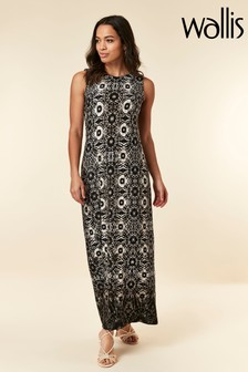Wallis Black Tie Dye Blocked Maxi Dress