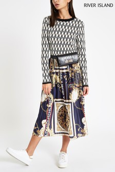 River Island Blue Pleated Chain Print Midi Skirt