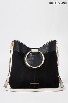 River Island Black Ring Detail Handle Bucket Bag 6f96515f0a462