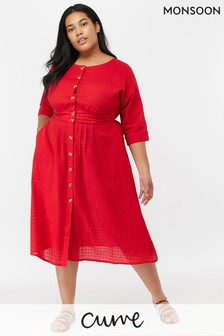 Monsoon Ladies Red Etna Cotton Midi Dress
