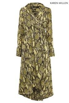 Karen Millen Yellow Snake Print Dress