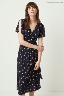 French Connection Blue Roseau Meadow Jersey Midi Dress