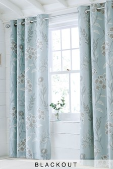 Sky Floral Blackout Eyelet Curtains
