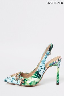 River Island Green Print Jewelled Slingback