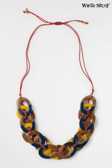 White Stuff Yellow Woven Hoop Necklace