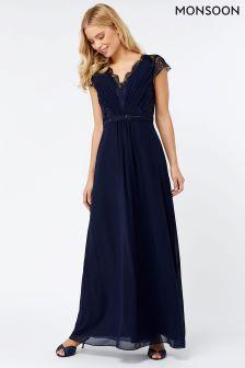 Monsoon Navy Brigitte Lace Top Up Maxi Dress