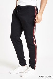 River Island Black Side Tape Smart Jogger