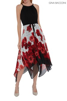Gina Bacconi Black Zarita Dress With Printed Skirt