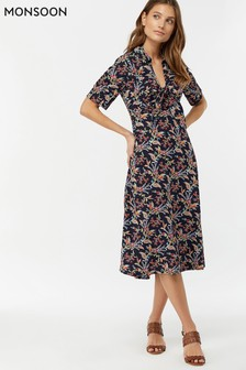 Monsoon Ladies Blue Sarita Print Tie Front Midi Dress