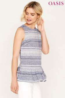 Oasis Blue Varigated Stripe Peplum Top