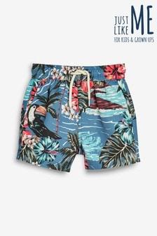 Matching Family Boys Hawaiian Print Swim Shorts (3mths-16yrs)