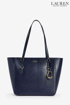 Polo Ralph Lauren Navy Leather Shopper Bag
