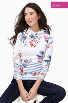 Joules White Whitstable Marlston Print Hoody