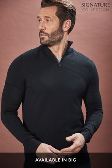 Merino Wool Zip Neck Jumper