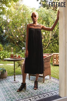 FatFace Black Tresco Embroidered Midi Dress