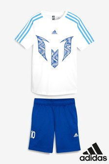 adidas White/Blue Messi Set