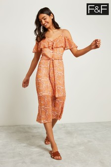 F&F Orange Paisley Frill Maxi Dress