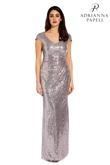 b8f7d474462fa Adrianna Papell Grey Cap Sleeve Sequin Dress