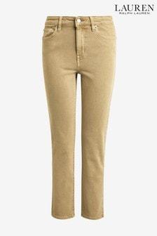 Lauren Ralph Lauren Tan Straight Crop Jeans